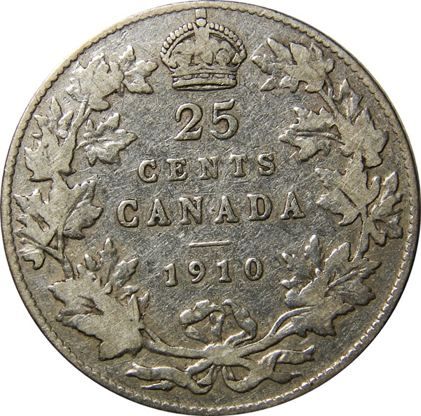 Canada 1902 1910 Edward Vii 25 Cents Type Set Coin