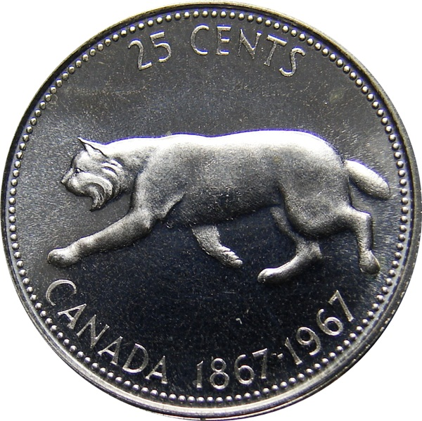 1967 CANADA 25 CENT  UNCIRCULATED SILVER QUARTER