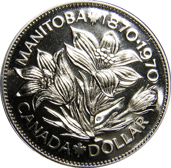 Canada 1970 Manitoba Centennial Proof Like Nickel Dollar!!