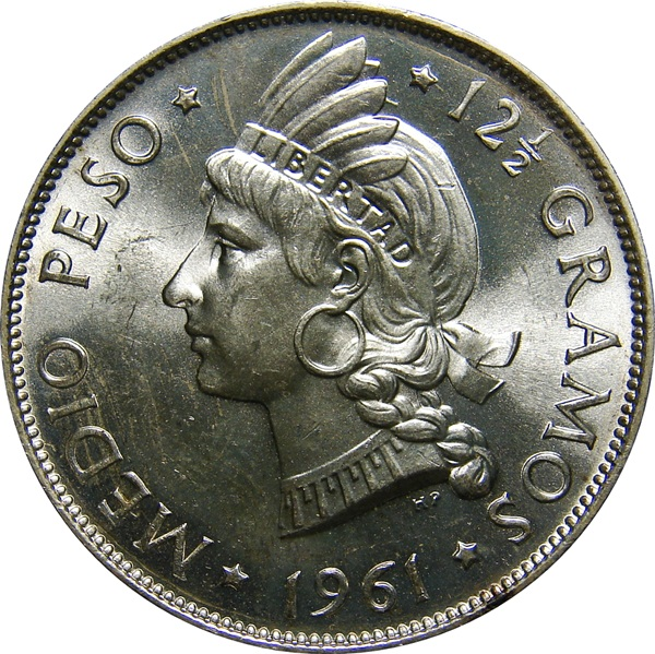 Dominican Republic Half Peso 1937 1975 Native Princess