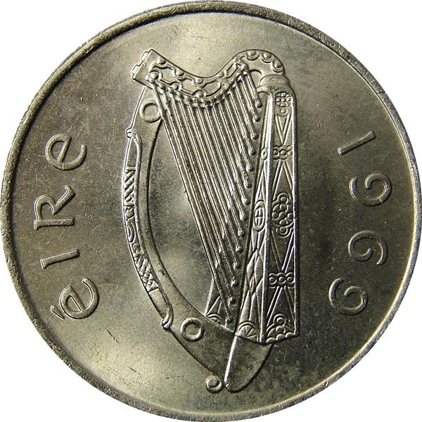 Irish harp Ireland Republic 1973-10 Pence Copper-Nickel Coin Salmon right
