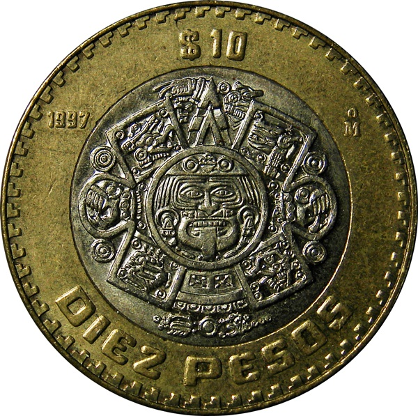 Mexico 10 Pesos Sun Stone 1992 Present Type Set Coin