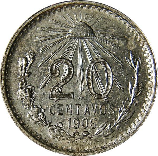 Mexico 20 Centavos Cap Amp Rays 1905 1943 Type Set Coin