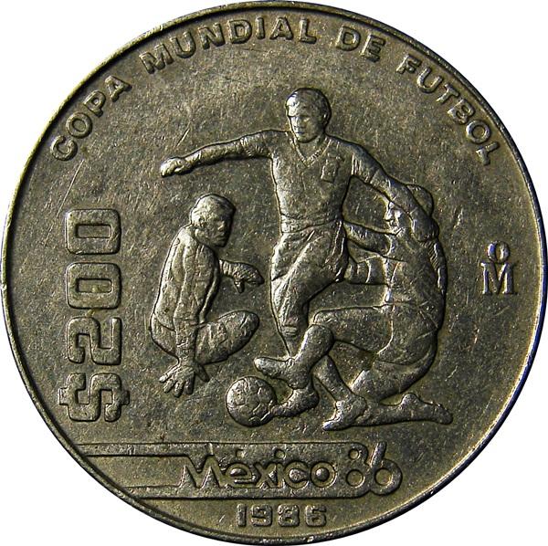 mexico  200 pesos 1986 world cup soccer