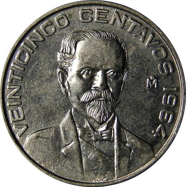 Mexico 25 Centavos 1964 1966 Madero Type Set Coin