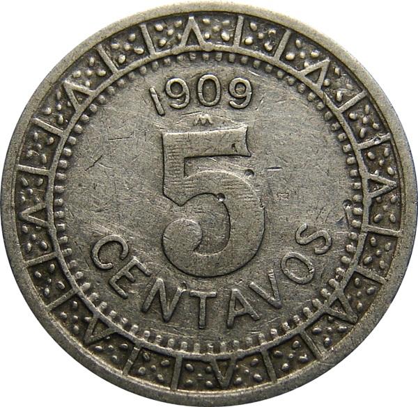 mexico  5 centavos 1905-1914