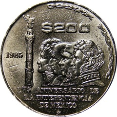 True Market Value >> Mexico: 200 Pesos 1985 Independence - Type Set Coin Collecting
