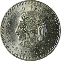 Mexico 5 Pesos 1947 1948 Cuauhtemoc Type Set Coin
